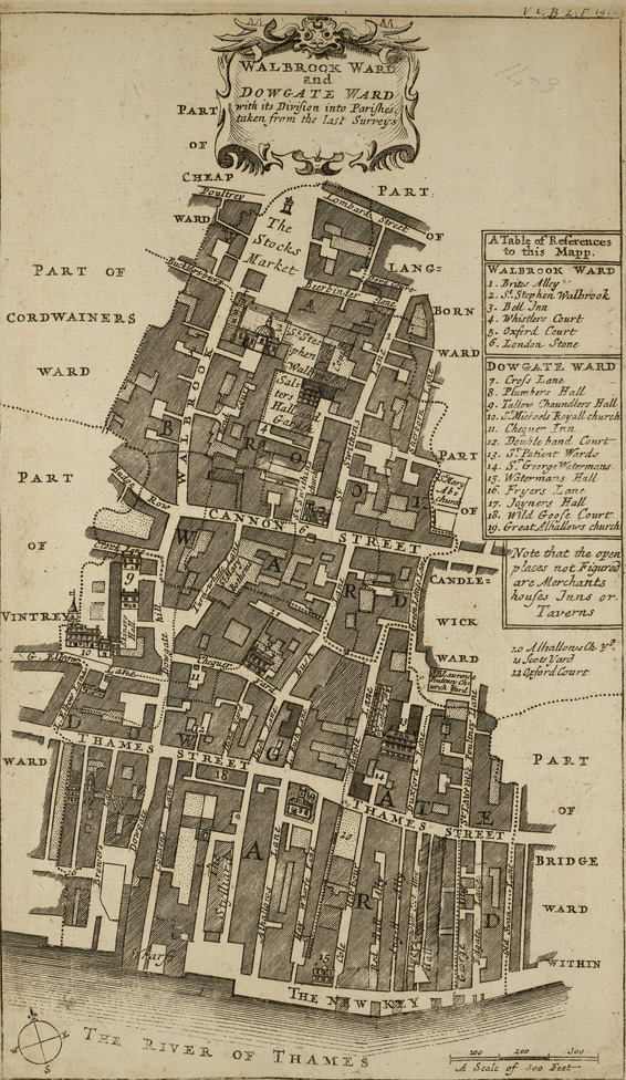 Walbrook ward and Dowgate ward with its division into parishes, taken from the last surveys (1720)